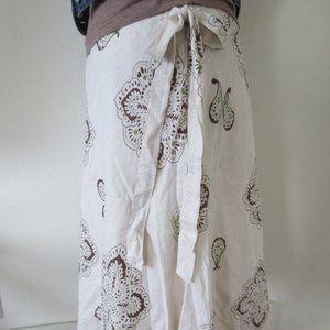 Beige, Brown & Green Paisley Print Skirt - 4